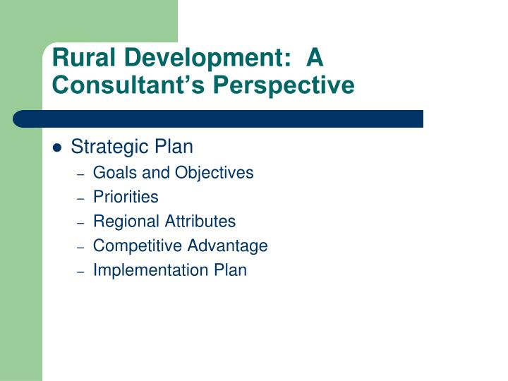 Rural development a consultant s perspective