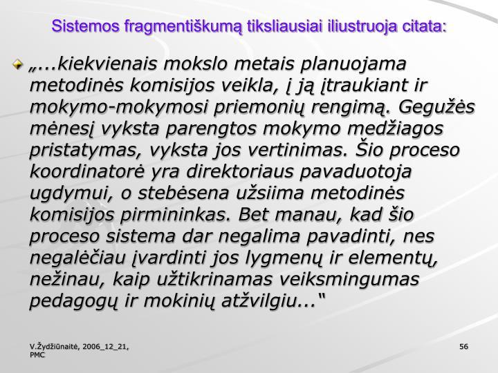 Sistemos fragmentiškumą tiksliausiai iliustruoja citata: