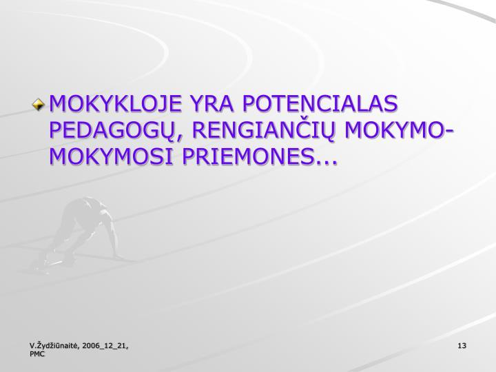 MOKYKLOJE YRA POTENCIALAS PEDAGOGŲ, RENGIANČIŲ MOKYMO-MOKYMOSI PRIEMONES