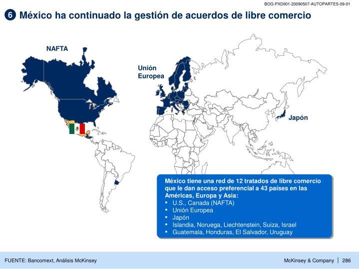 México ha continuado la gestión de acuerdos de libre comercio
