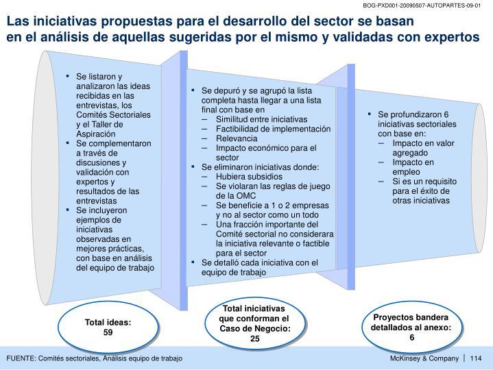 Las iniciativas propuestas para el desarrollo del sector se basan