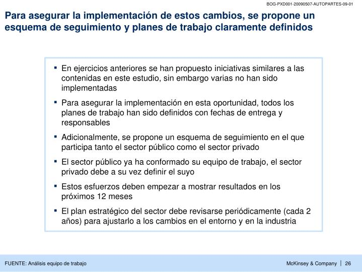 Para asegurar la implementación de estos cambios, se propone un esquema de seguimiento y planes de trabajo claramente definidos