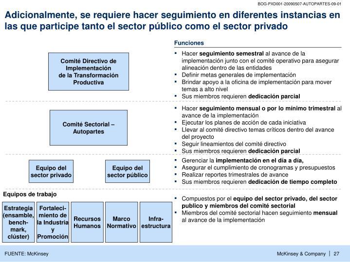 Adicionalmente, se requiere hacer seguimiento en diferentes instancias en las que participe tanto el sector público como el sector privado