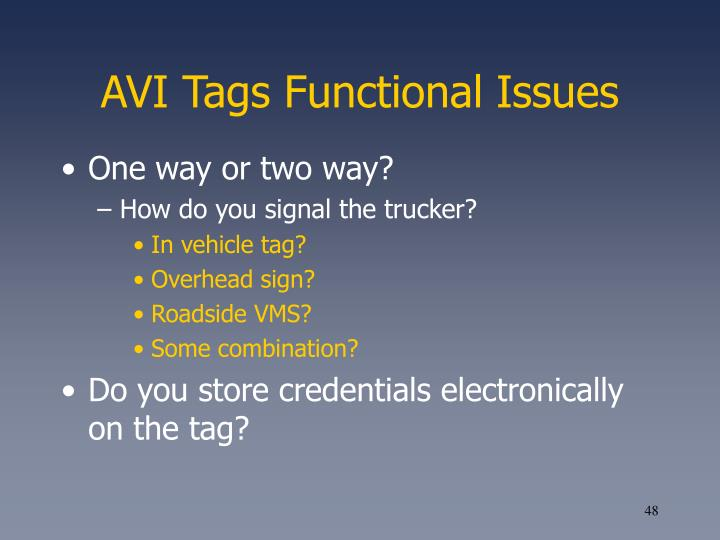 AVI Tags Functional Issues