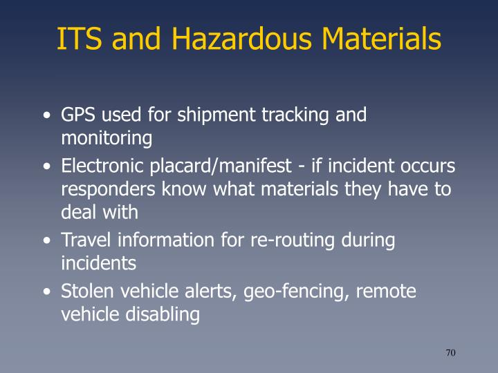 ITS and Hazardous Materials