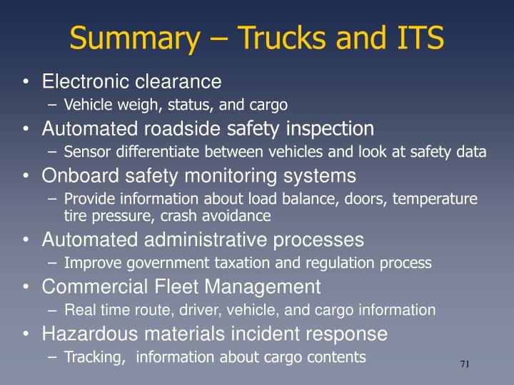 Summary – Trucks and ITS