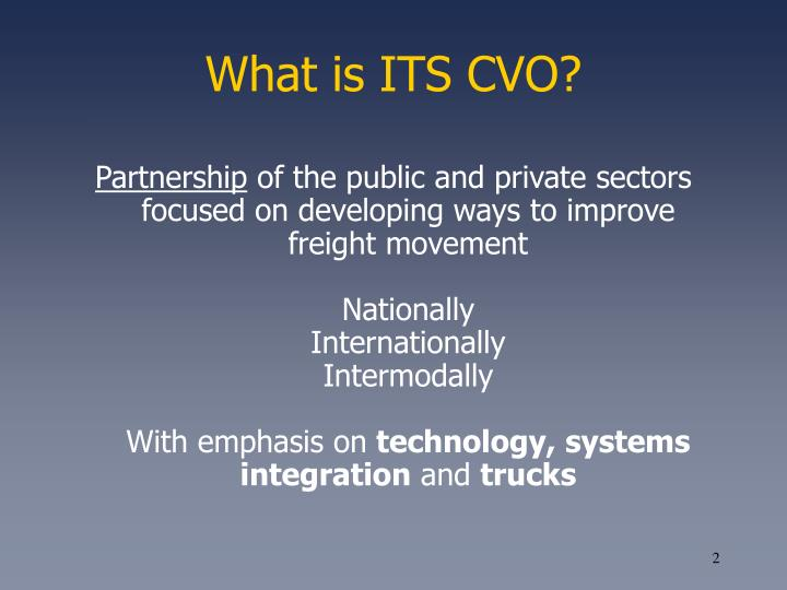 What is ITS CVO?