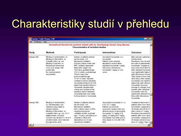 Charakteristiky studií v přehledu