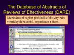the database of abstracts of reviews of effectiveness dare