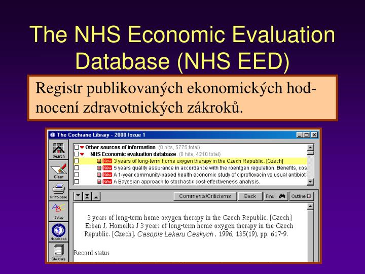 The NHS Economic Evaluation Database