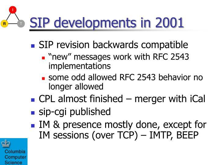 SIP developments in 2001