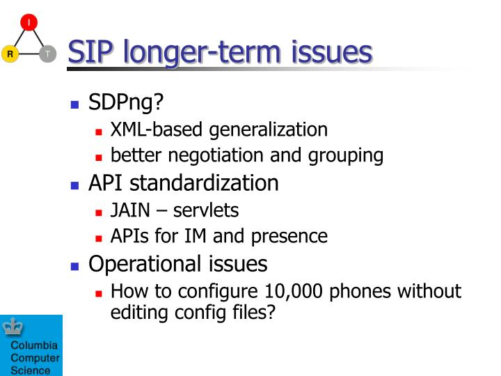 SIP longer-term issues