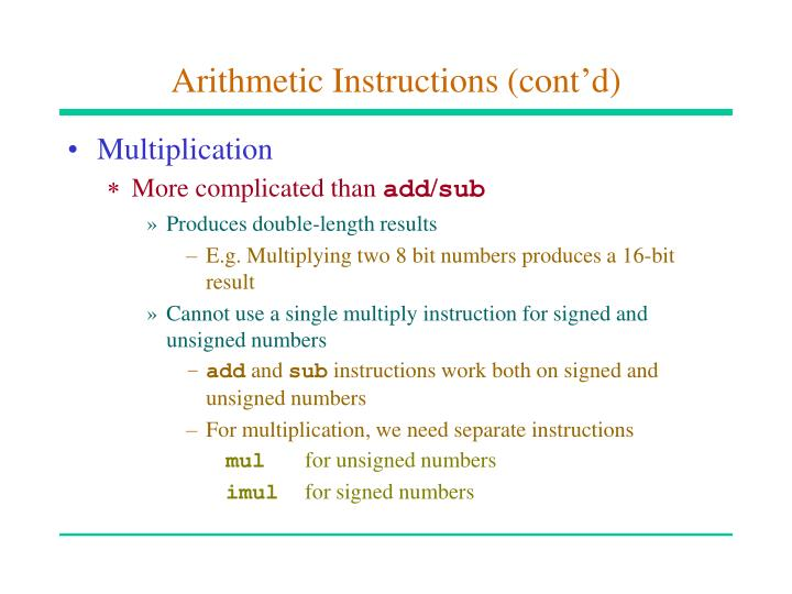 Arithmetic instructions cont d