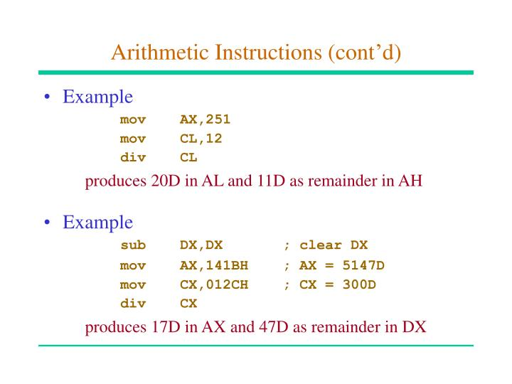 Arithmetic Instructions (cont'd)