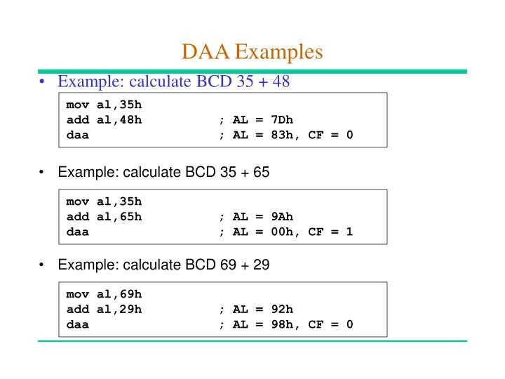Example: calculate BCD 35 + 65