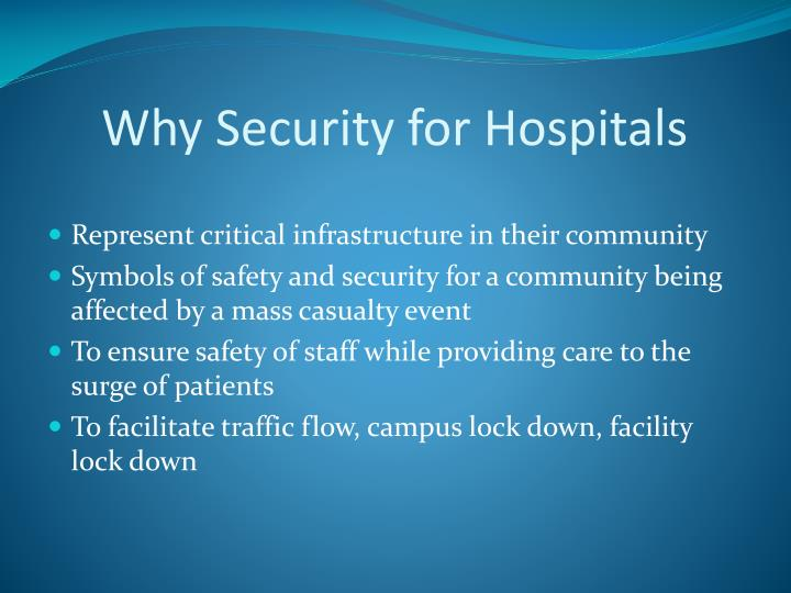 Why Security for Hospitals