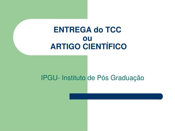 ENTREGA do TCC