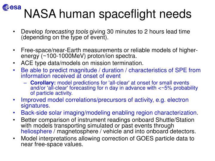 NASA human spaceflight needs
