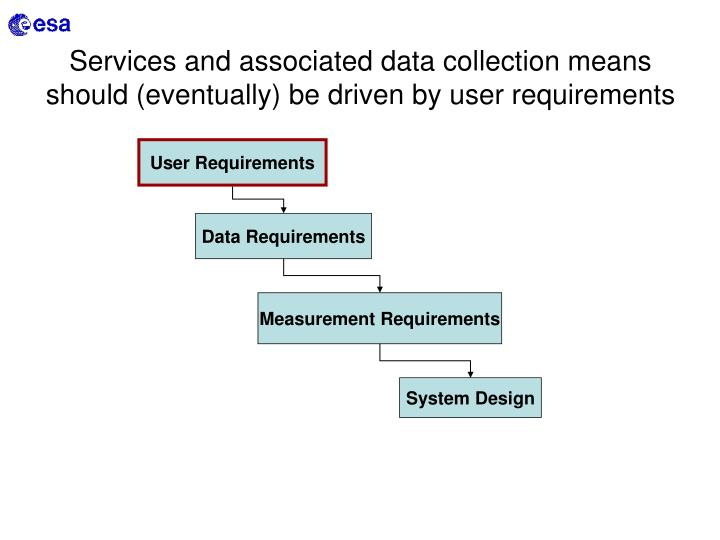 Services and associated data collection means should (eventually) be driven by user requirements