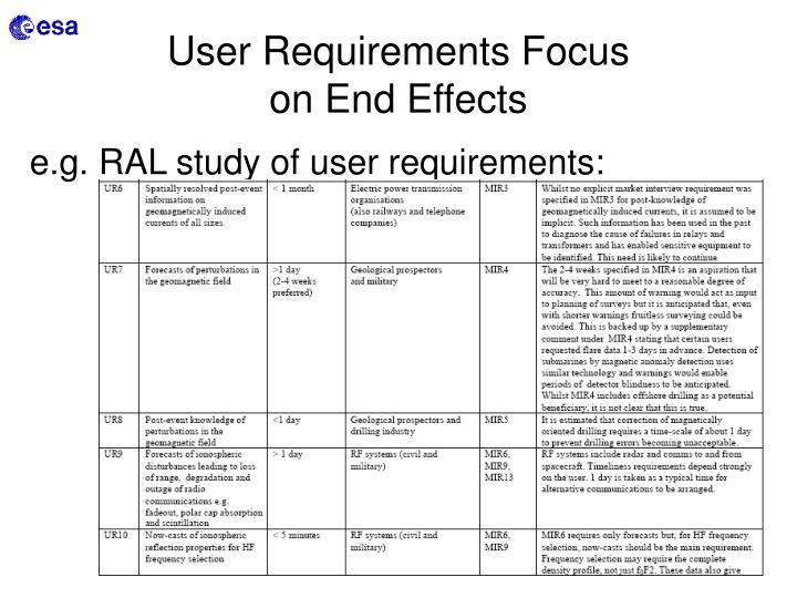 User Requirements Focus