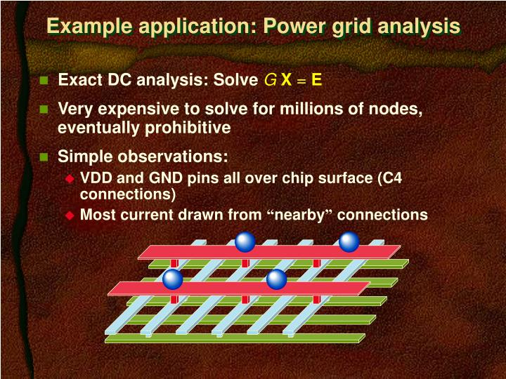 Example application: Power grid analysis