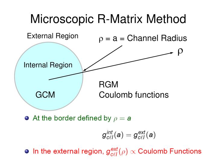 Microscopic R-Matrix Method