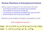 nuclear reactions of astrophysical interest