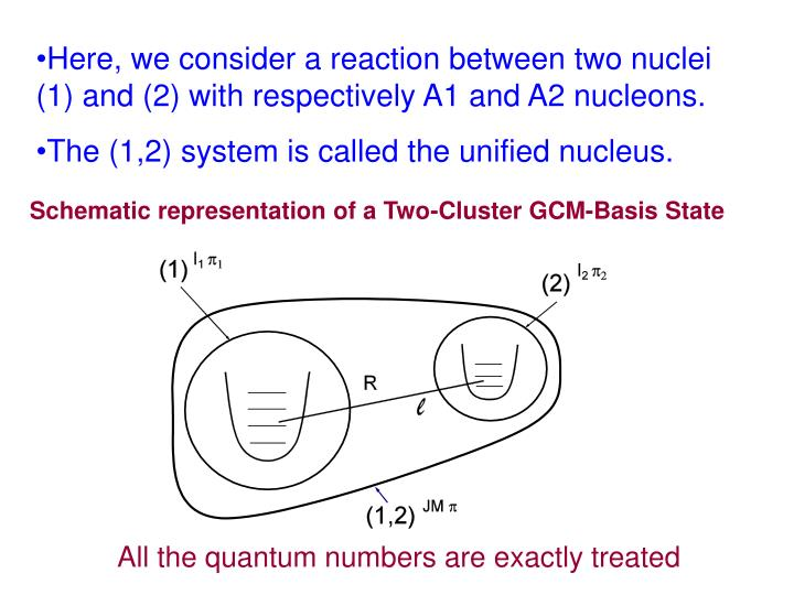 Here, we consider a reaction between two nuclei (1) and (2) with respectively A1 and A2 nucleons.