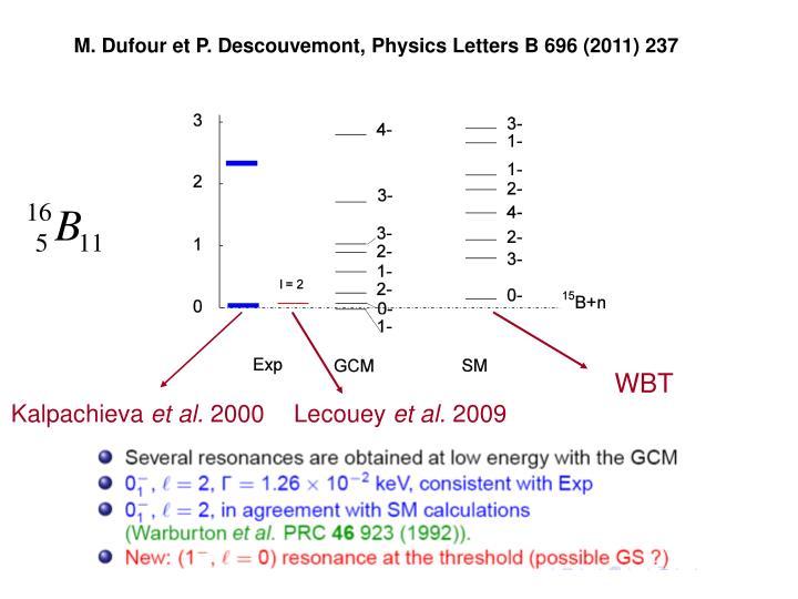 M. Dufour et P. Descouvemont, Physics Letters B 696 (2011) 237