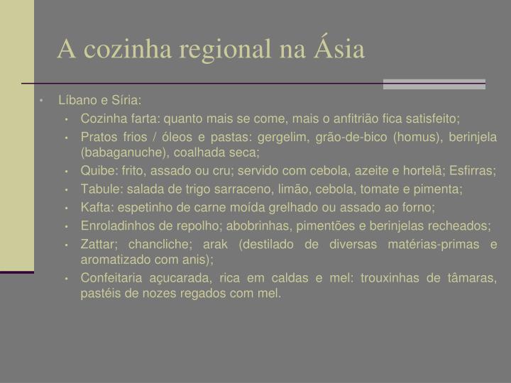 A cozinha regional na Ásia