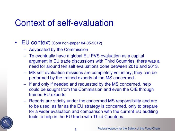 Context of self evaluation