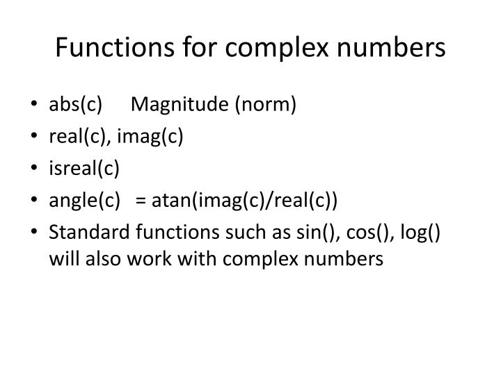 Functions for complex numbers