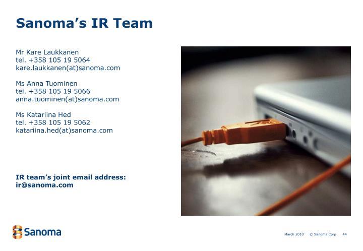 Sanoma's IR Team