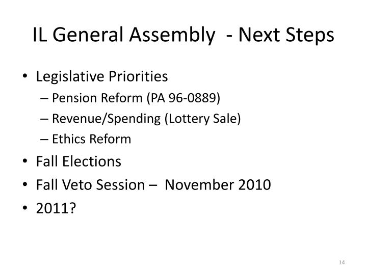 IL General Assembly  - Next Steps
