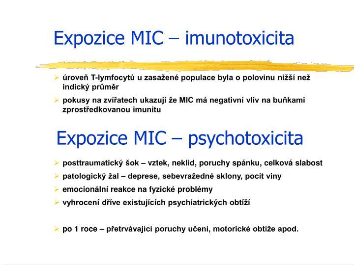Expozice MIC – imunotoxicita