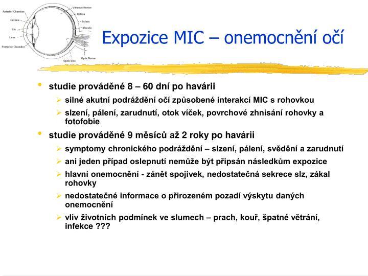Expozice MIC – onemocnění očí
