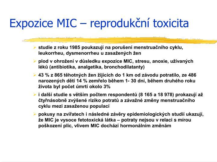 Expozice MIC – reprodukční toxicita