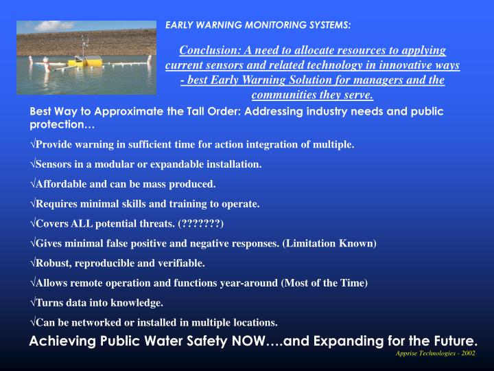 EARLY WARNING MONITORING SYSTEMS: