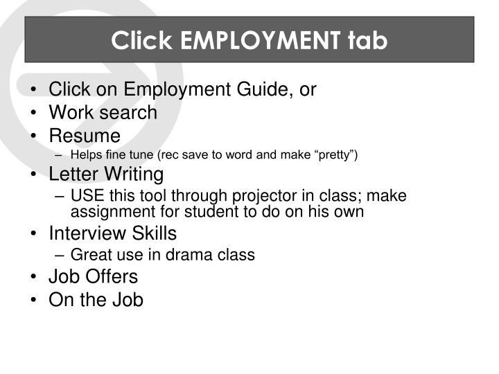 Click EMPLOYMENT tab