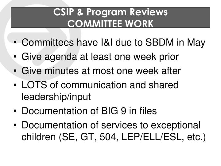 CSIP & Program Reviews