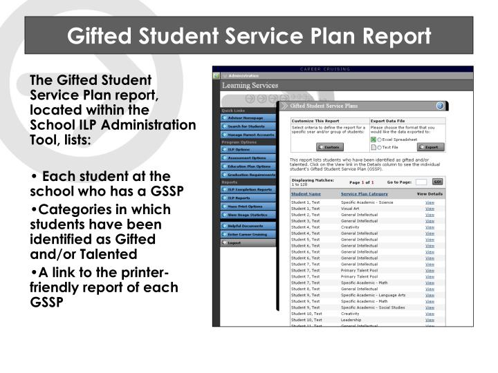 Gifted Student Service Plan Report