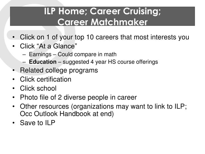 ILP Home; Career Cruising;