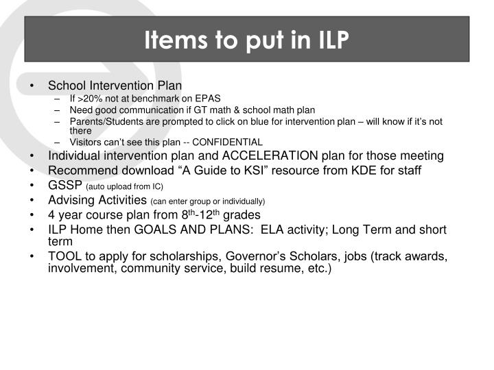Items to put in ILP
