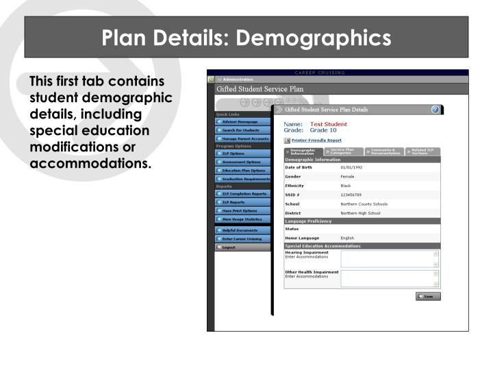 Plan Details: Demographics