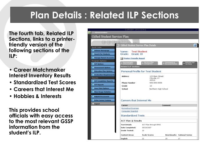 Plan Details : Related ILP Sections