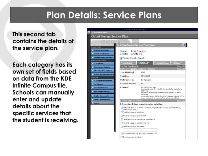 Plan Details: Service Plans