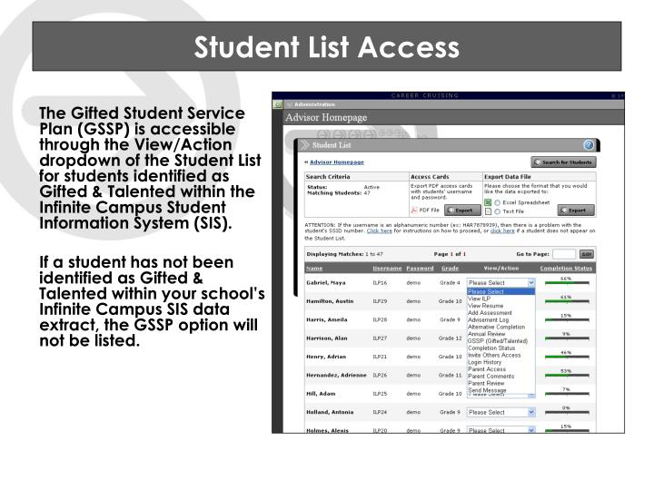 Student List Access