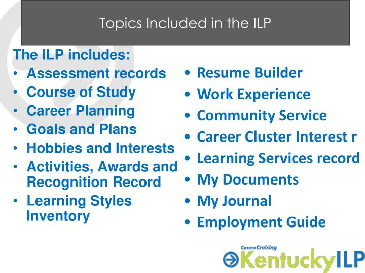 Topics Included in the ILP