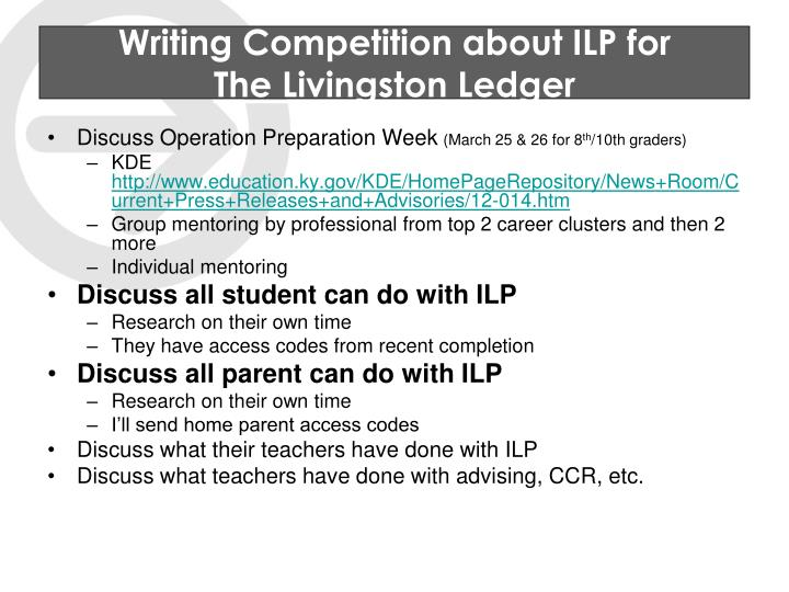 Writing Competition about ILP for