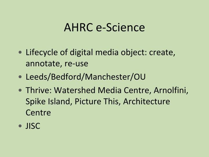 AHRC e-Science